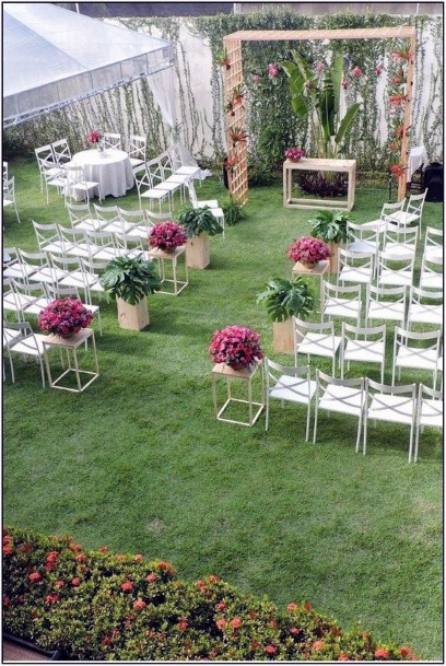 Private Hedge And Fencing Backyard Wedding Ideas