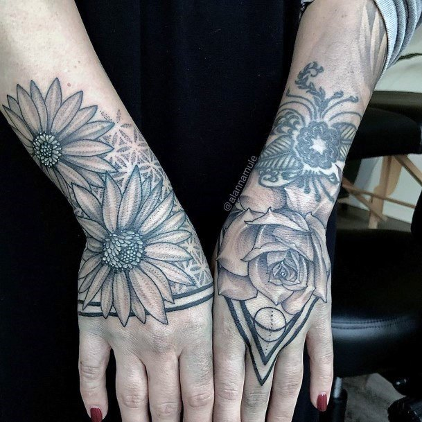 Protuding Flowers Geometric Tattoo Womens Hands