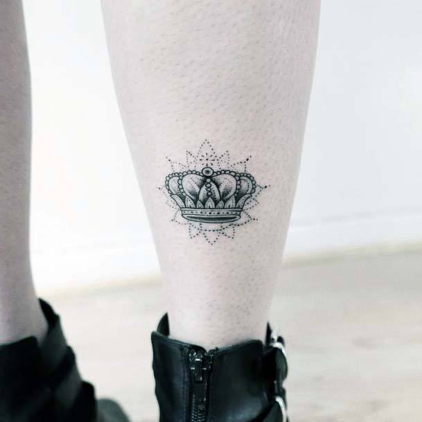 Puffy Crown Tattoo Womens Ankles