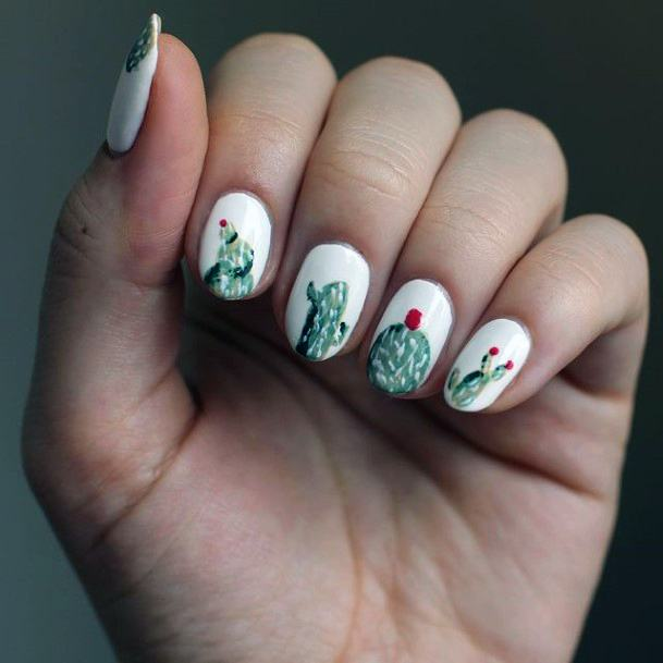 Pure White Nails With Cactus Women