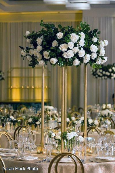 Pure White Roses Long Stemmed Vase Indian Wedding Flowers