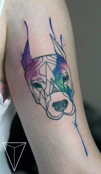 Purple And Blue Paint Dog Tattoo Womens Arms