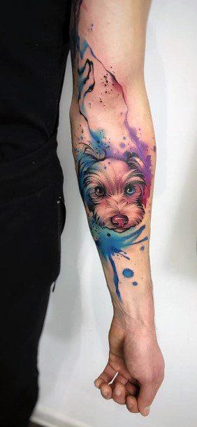 Purple And Blue Splash Dog Tattoo Womens Hands