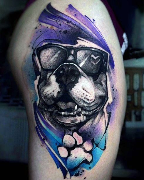 Purple And Blue Tinted Dog Tattoo For Women