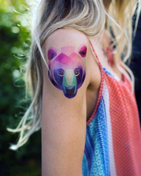 Purple And Green Shaded Bear Head Tattoo For Women Geometric