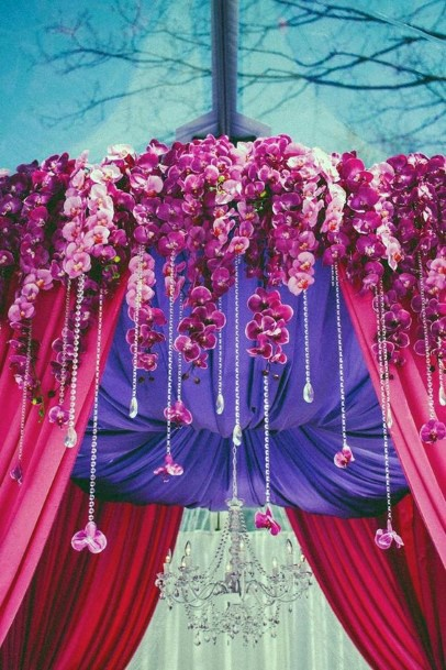 Purple And White Ceiling Decor Indian Wedding