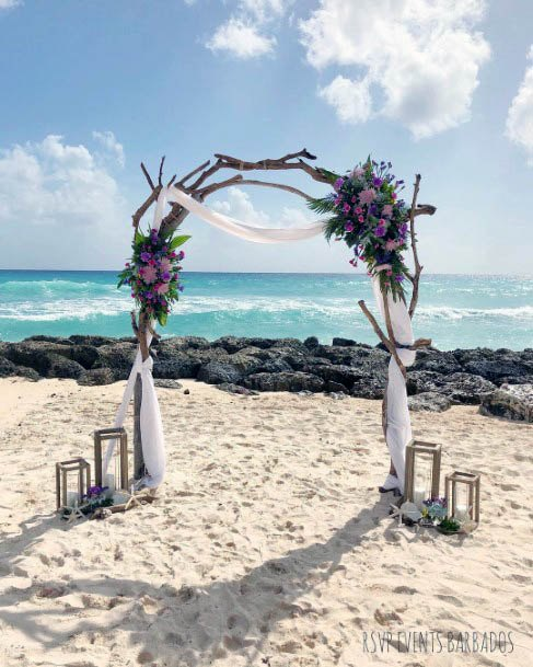 Purple Arched Beach Wedding Flowers