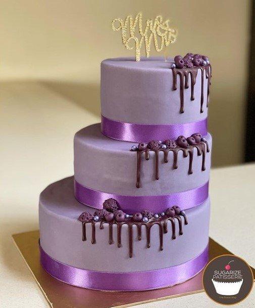 Purple Banded Wedding Cake