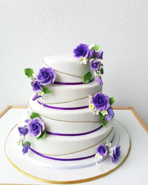 Purple Bands And Roses Wedding Cake