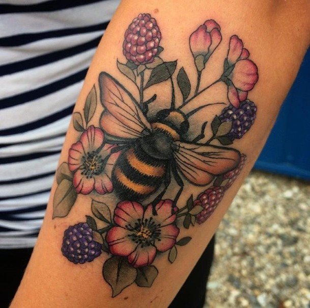Purple Blossoms And Bee Tattoo For Women Hands