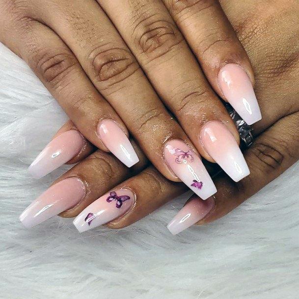 Purple Butterflies Natural Nail Ideas For Women
