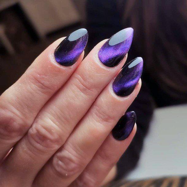 Purple Cat Eye Nail Art