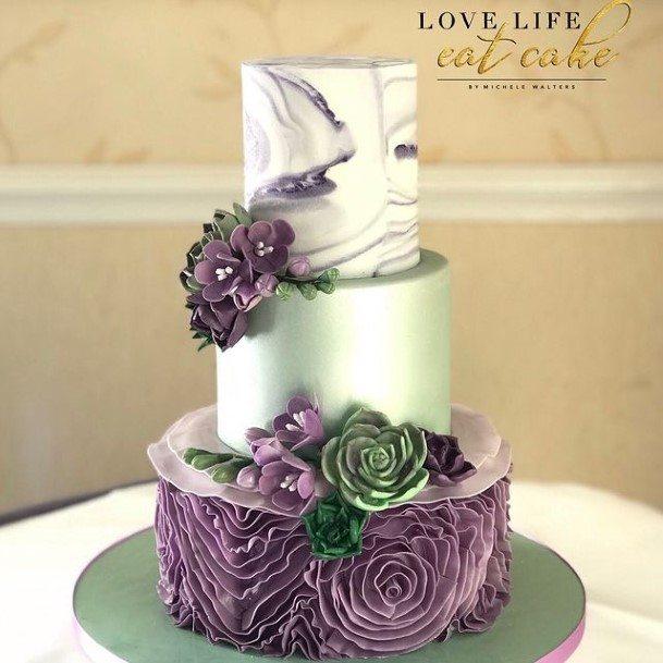Purple Florals On Silver Wedding Beautiful Cake