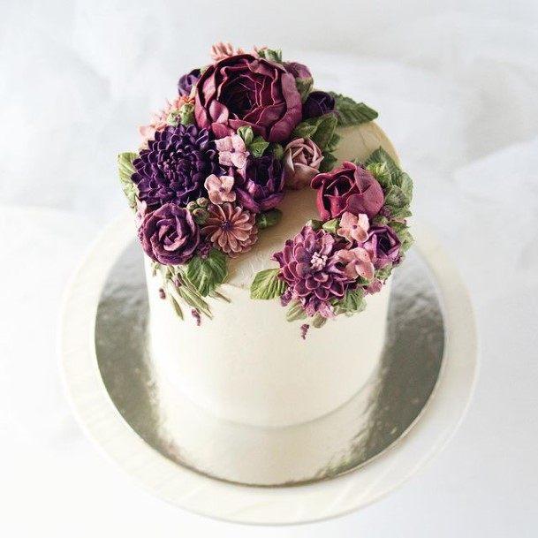 Purple Florals White Cake Wedding