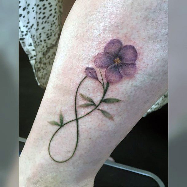 Purple Flower Infinity Tattoo For Women
