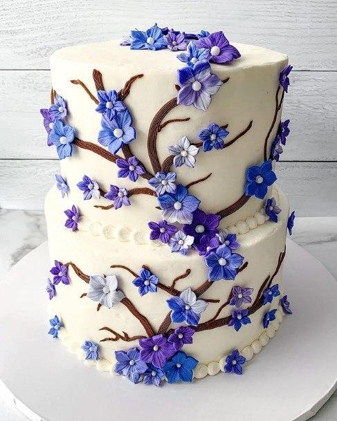 Purple Flowers Lovely Wedding Cake