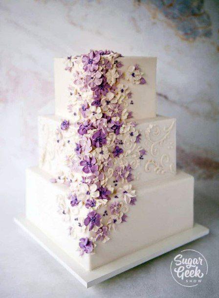 Purple Flowers Square Wedding Cakes