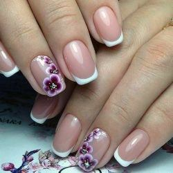 Purple Orchids On White Polished Nail Tips