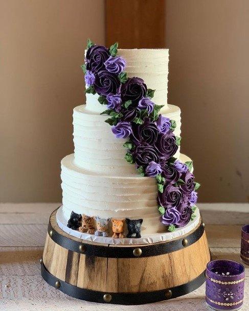 Purple Rose Creeper On White Wedding Cake