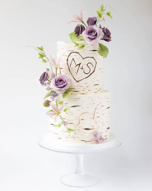 Purple Roses And White Wedding Cake