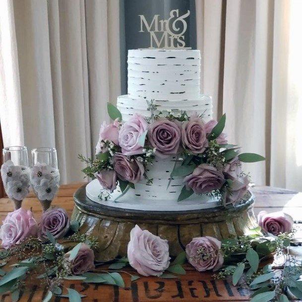 Purple Roses On 3 Tiered Wedding Cake Women