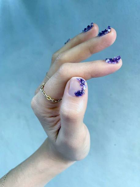 Purple Stones On Short Nails Women