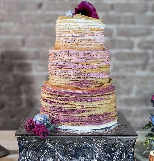 Purple Swirls Unique Wedding Cake