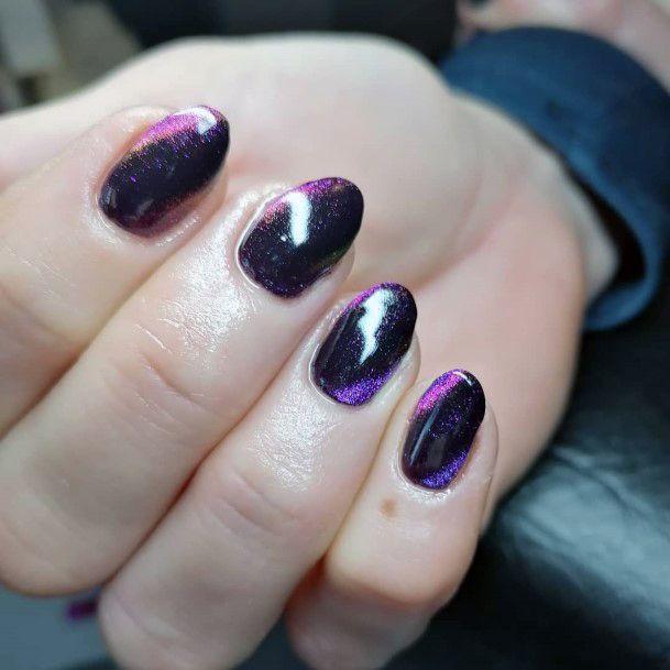 Purple Toned Cat Eye Nails