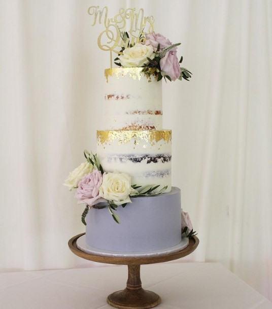 Purple Wedding Cake With Golden Foils