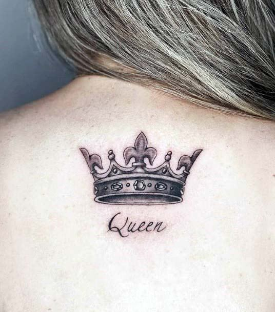 Queen Crown Tattoo Womens Back