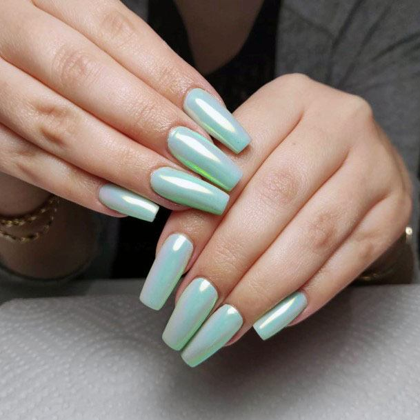 Radiant Mint Nails Women