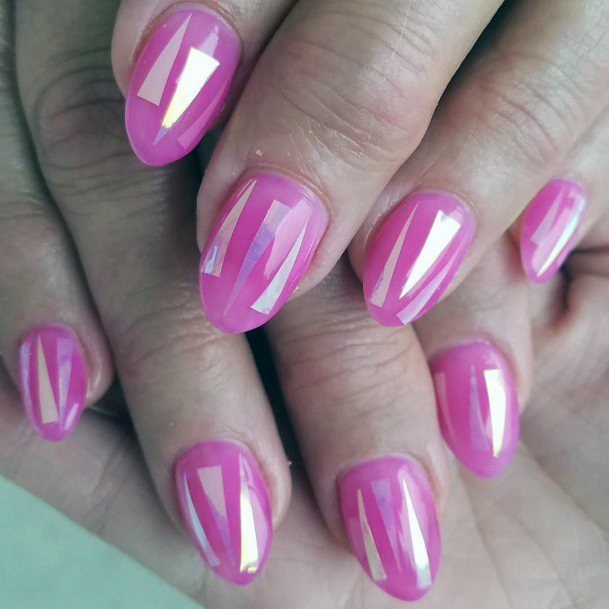 Radiant Pink Glass Nails Women