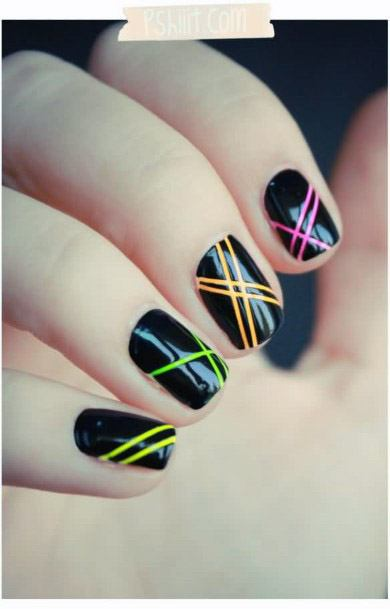 Radiating Glossy Dark Nails Women