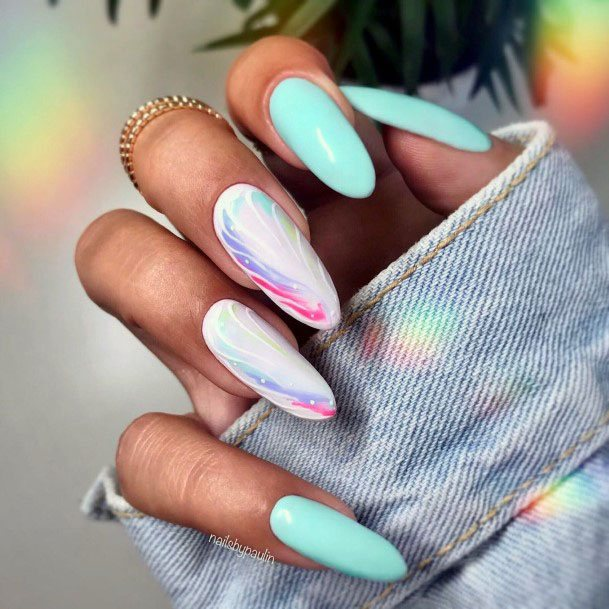 Rainbow And Mint Nails Women