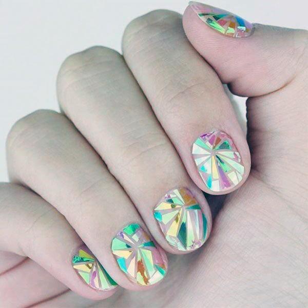 Rainbow Light Effect Glass Nails Women