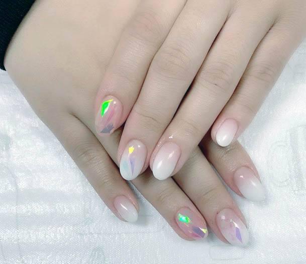 Rainbow Shine White Ombre Nails Women