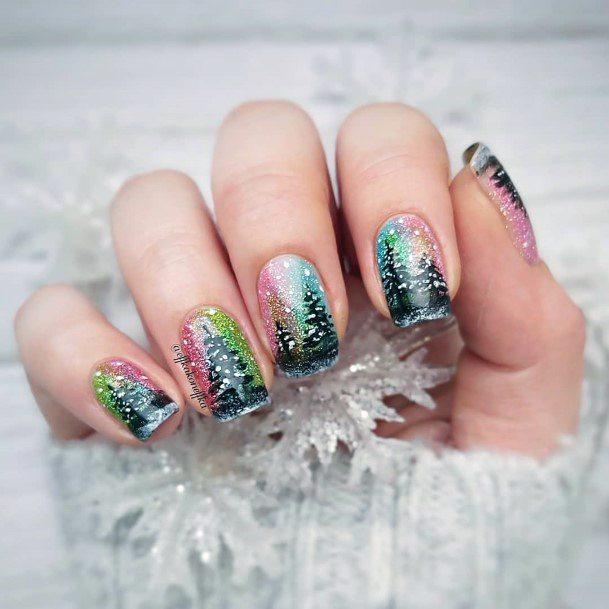 Rainbow Snow Nails With Fir For Women