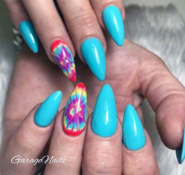 Rainbow Spiral Art Bright Blue Nails For Women