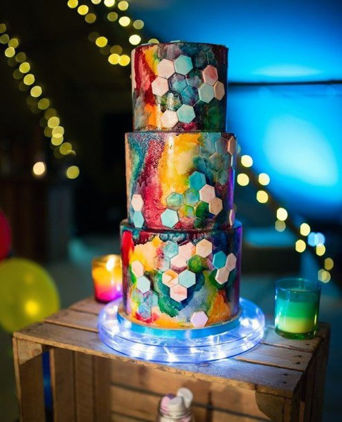 Rainbow Unique Wedding Cake