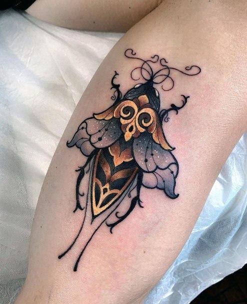 Rare Honey Bee Tattoo For Women