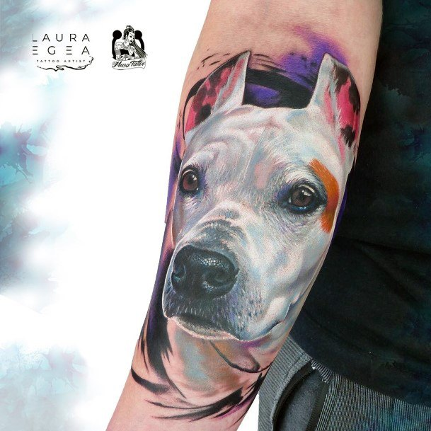 Rare Snow Grey Tattoo Of Dog For Women