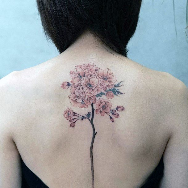 Ravishing Cherry Blossom Tattoo Womens Back