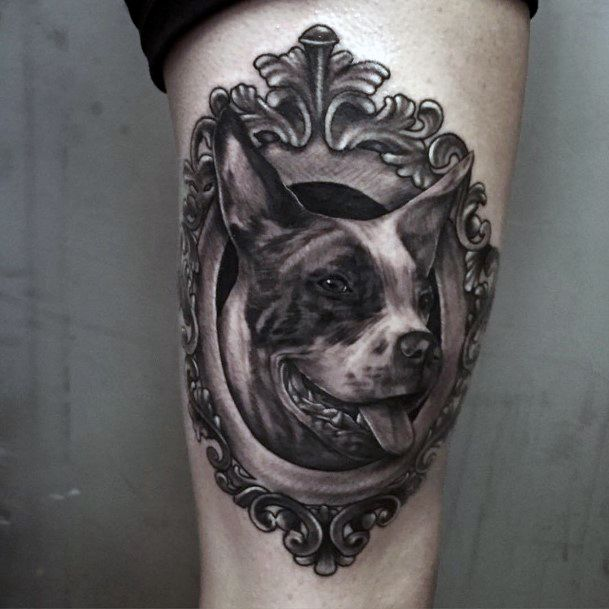 Realistic Dog In Mirror Tattoo For Women Thighs