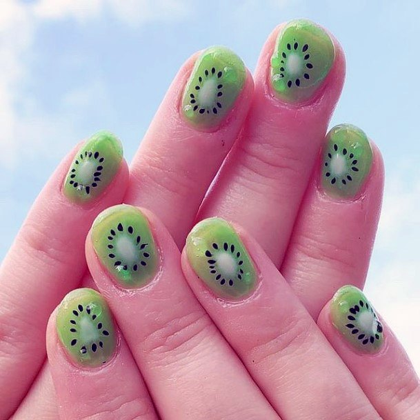 Realistic Kiwi Nails For Women