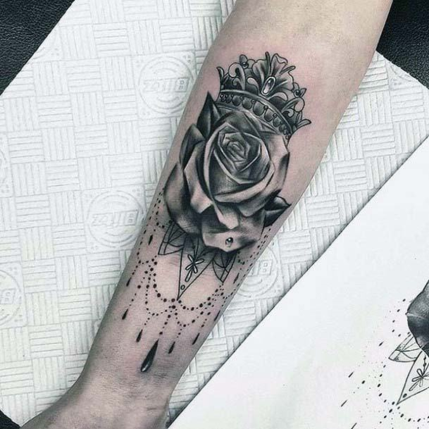 Realistic Rose And Crown Tattoo For Women