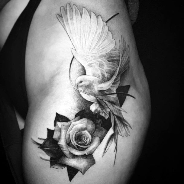 Realistic Rose And Dove Tattoo Womens Arms