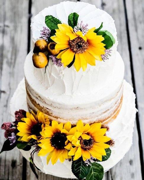 Realistic Sunflowers Decor Womens Wedding Cakes