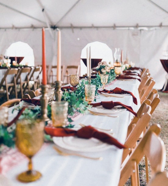 Reception Table Decor Greenery Garland With Burgundy Accents