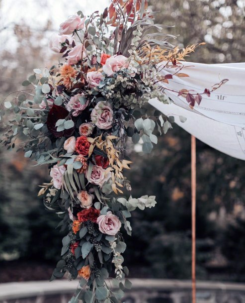 Red And Blush With Silver Dollar Greenery Arch Bouquet Fall Wedding Ideas