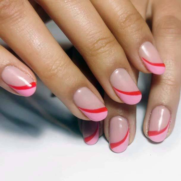 Red And Calamine Pink Tipped Nails For Women